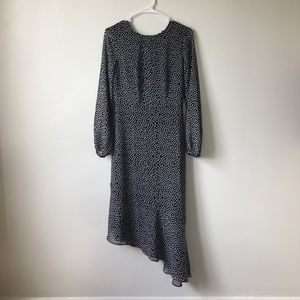 Who What Wear Jet Black Squares Long-Sleeve Dress